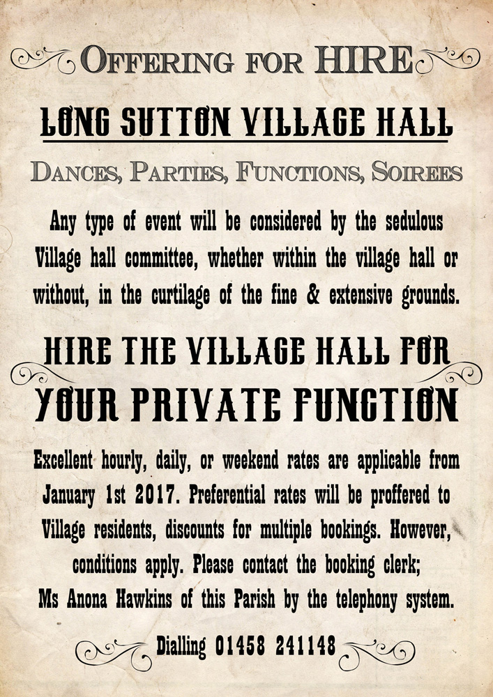 Village Hall Hire Poster